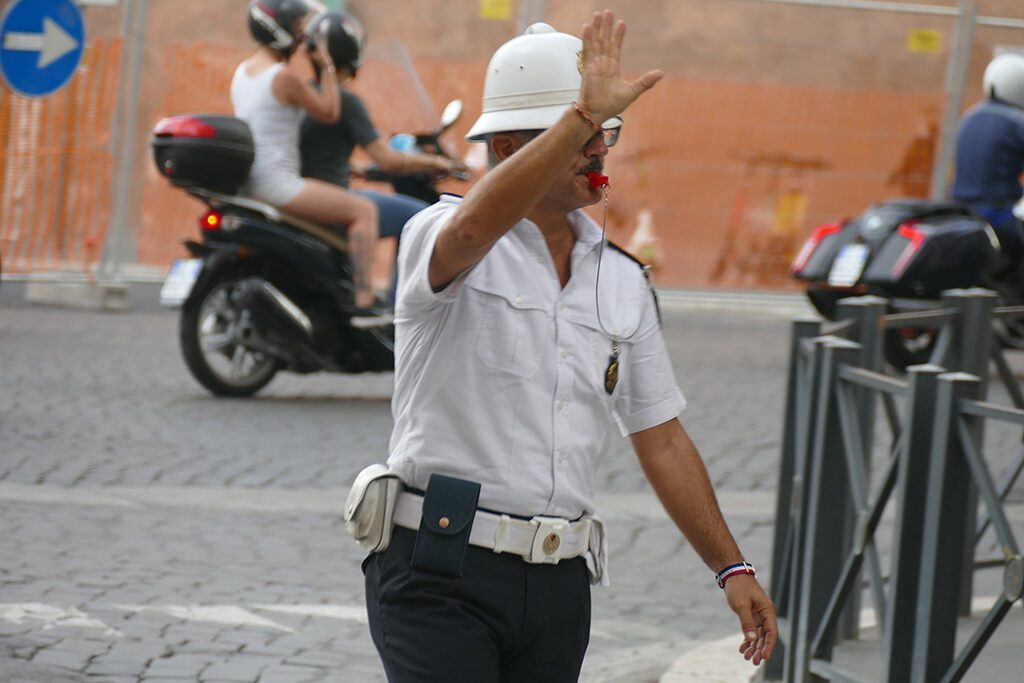 Police man at the Piazza Venezia in Rome.