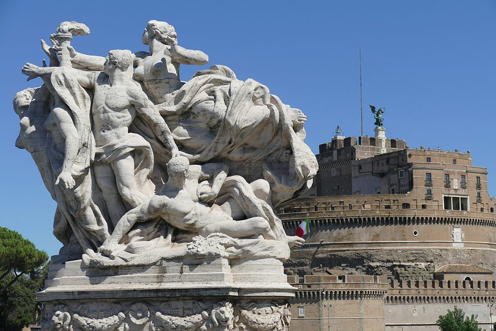 Sculpture Loyalty to the Statute with the flame of freedom by Giuseppe Romagnoli