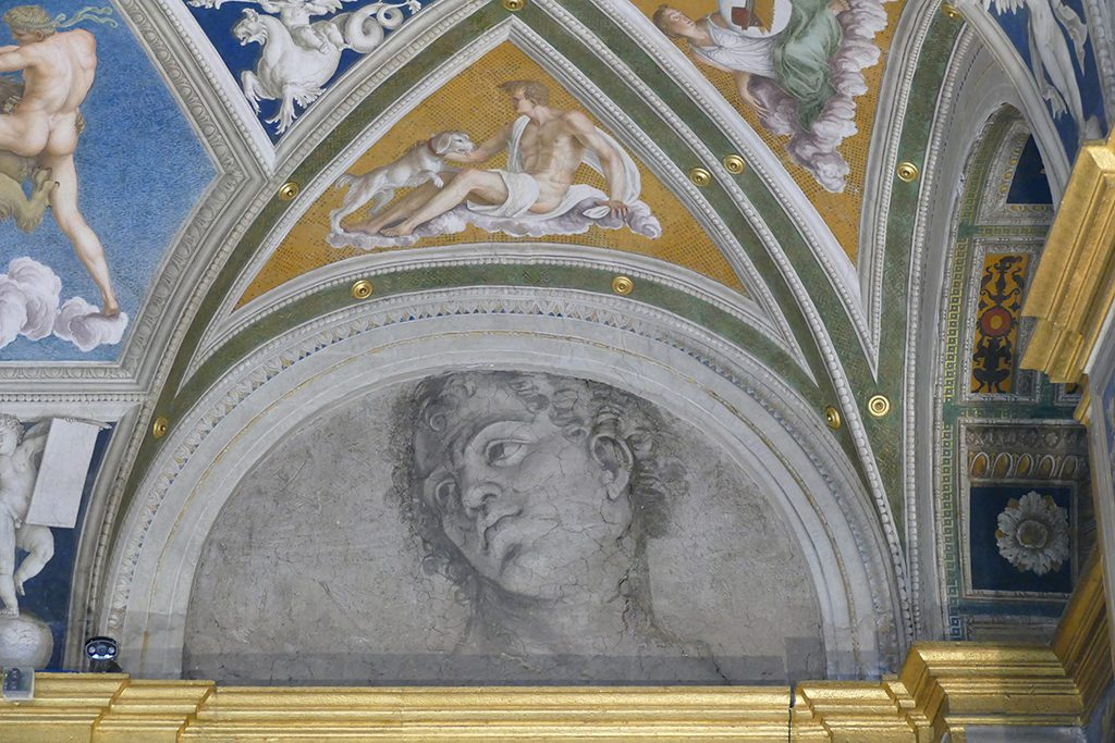 Head of a Young Man at the Loggia of Galatea at the Villa Faresina.