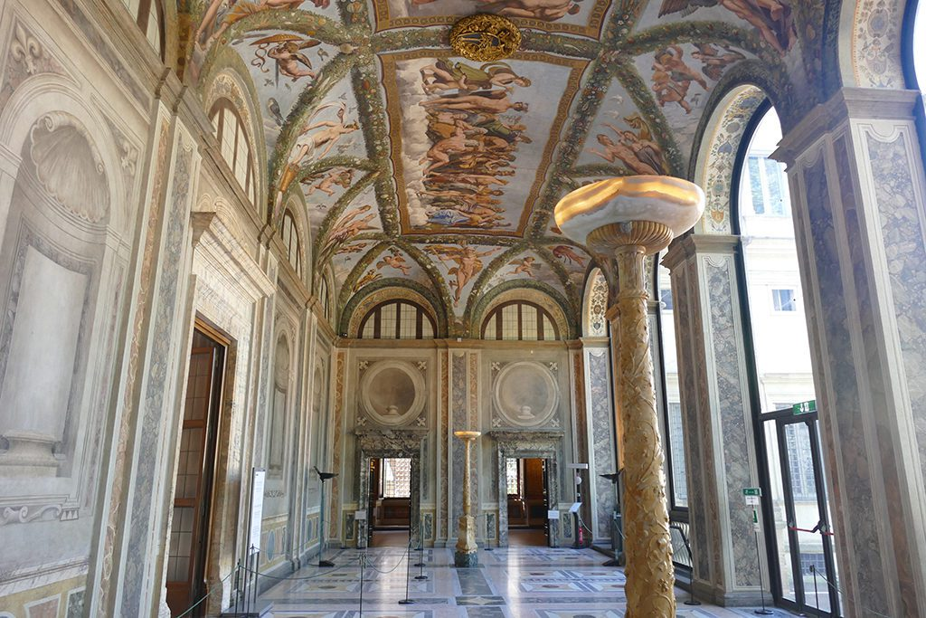 The Loggia of Cupid and Psyche named after the ceiling frescoes by Raphael and his students at the Villa Farnesina.