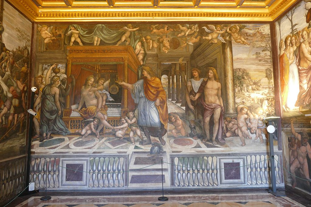 Fine example of the Renaissance in Rome: The bedroom of the Villa Farnesina, painted by  Giovanni Antonio Bazzi, called Il Sodoma, with scenes from the life of Alexander the Great.
