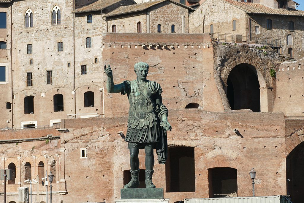 Statue of Traian in front of the Traian Forum in Rome. A must-see for first timers.