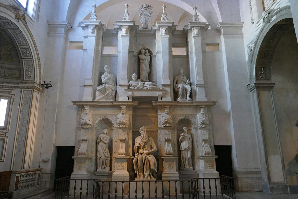 Tomb of Pope Julius II at the church of San Pietro in Vincoli in Rome.