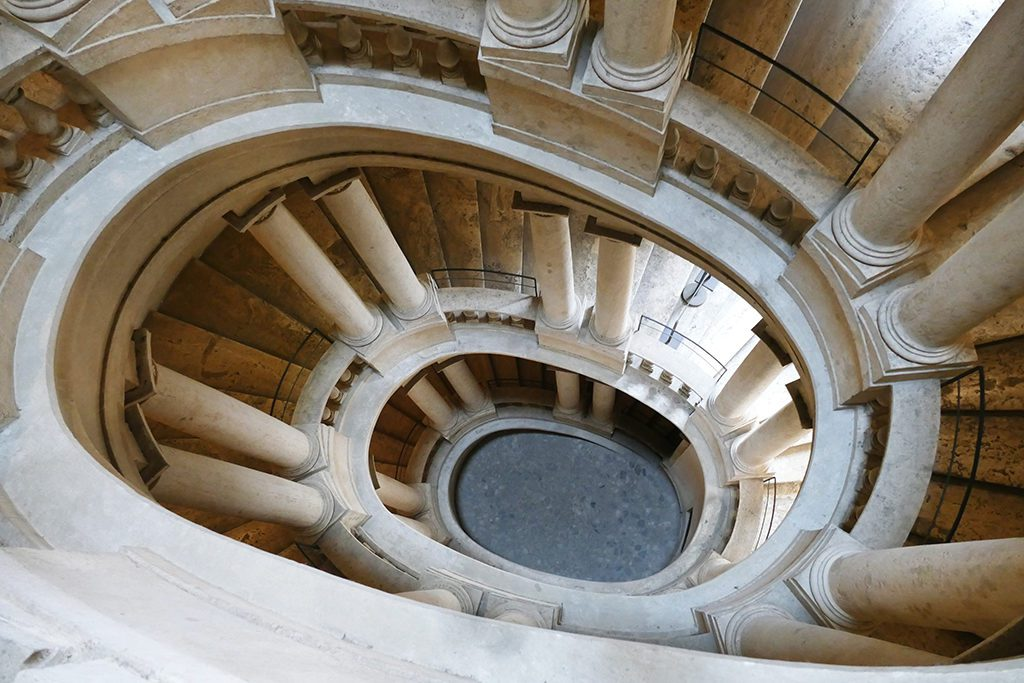 Borromini's staircase at the Palazzo Barberini.