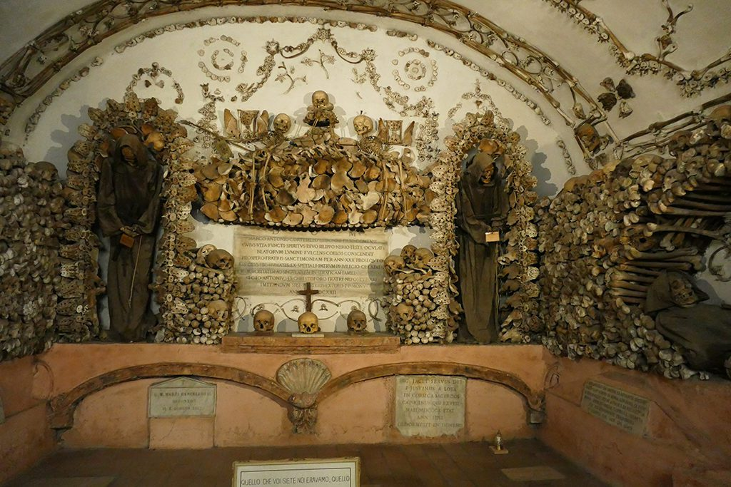 Crypt of the Leg Bones and Thigh Bones at the  Museo e Cripta dei Frati Cappuccini in Rome