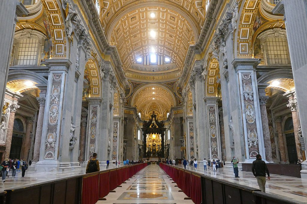 Nave of Saint Peter's Basilica in Rome, a must-visit for first timers.