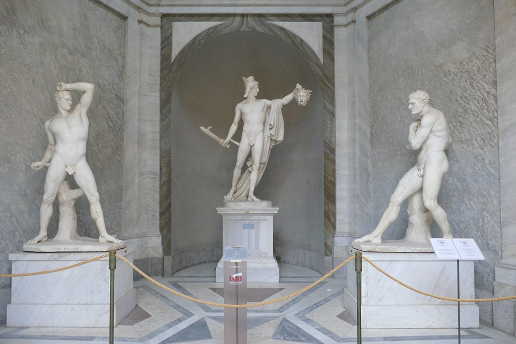 Triumphant Perseus flanked by Creugante and Damosseno by Canova at the Musei Vaticani in Rome