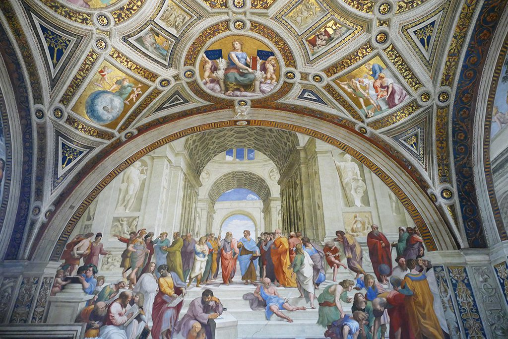 The school of Athens by Raphael at the Musei Vaticani in Rome. A must-visit for first timers.
