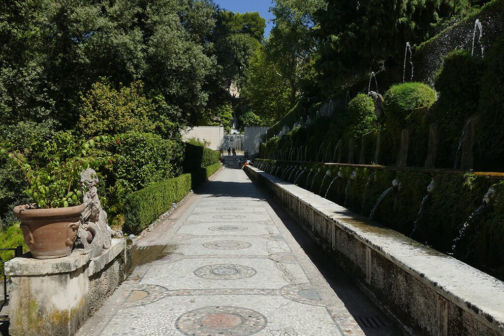 Avenue of the Hundred Fountains at the Villa d'Este in Tivoli, seen on a day trip from Rome