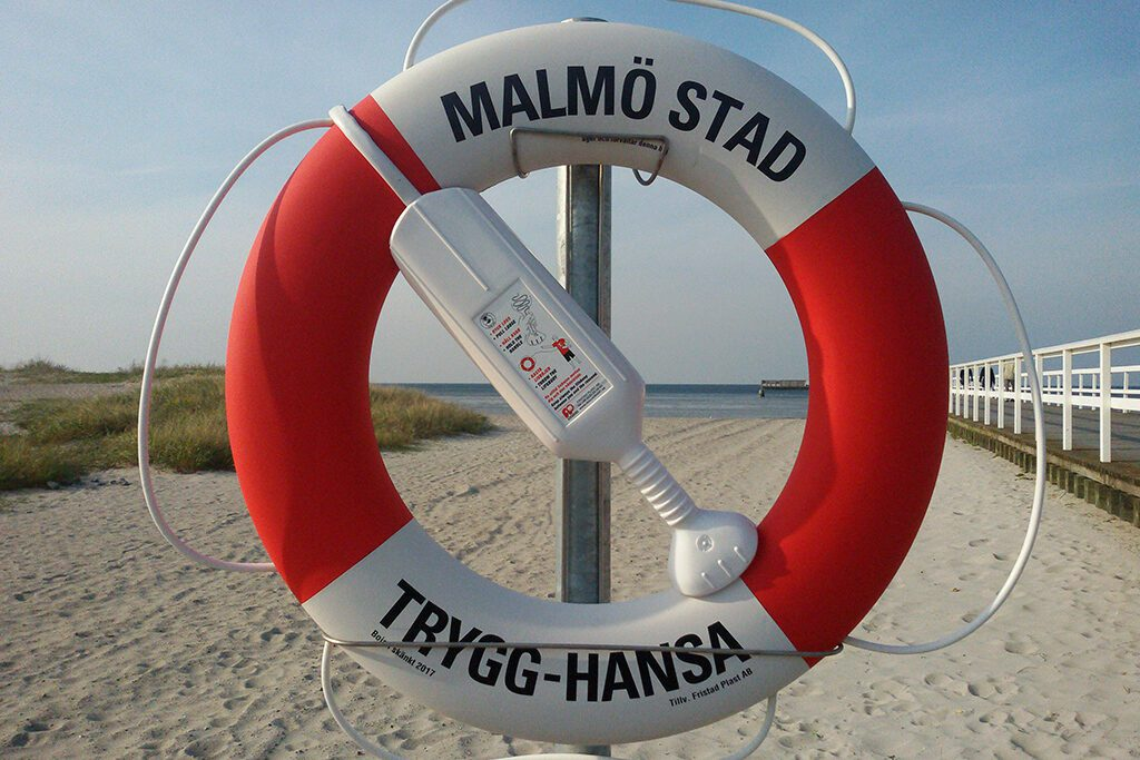 Lifebuoy on the beach of Malmö