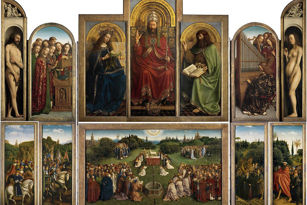 The Ghent Altarpiece by the Van Eyck brothers Jan and Hubert in Ghent - seen on a day trip to Antwerp, Bruges, and Ghent.