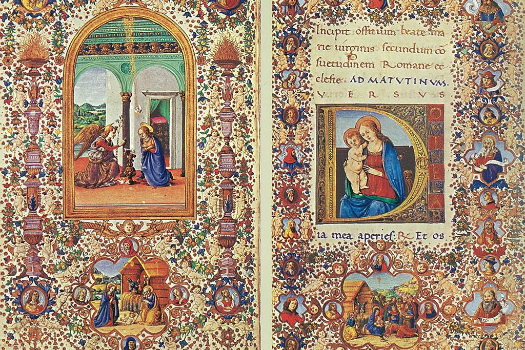 Two pages from the tiny yet precious Book of Hours. It has actually a size of 15,3 × 9 centimeters. On the left page is the Annunciation and below the birth of Christ. To the right Virgin and Child and below the Adoration of the Magi.