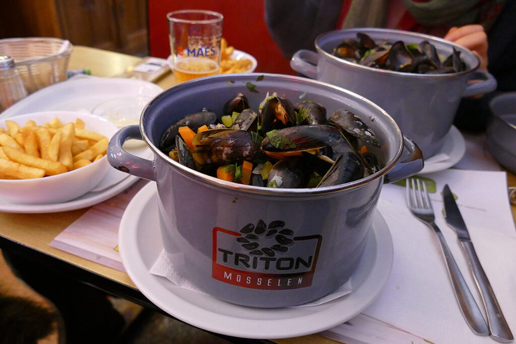 Belgian Mussles to be enjoyed on a day trip to Antwerp, Bruges, and Ghent