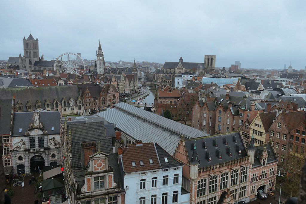 View from the top of the Gravensteen on a day trip to Antwerp, Bruges, and Ghent