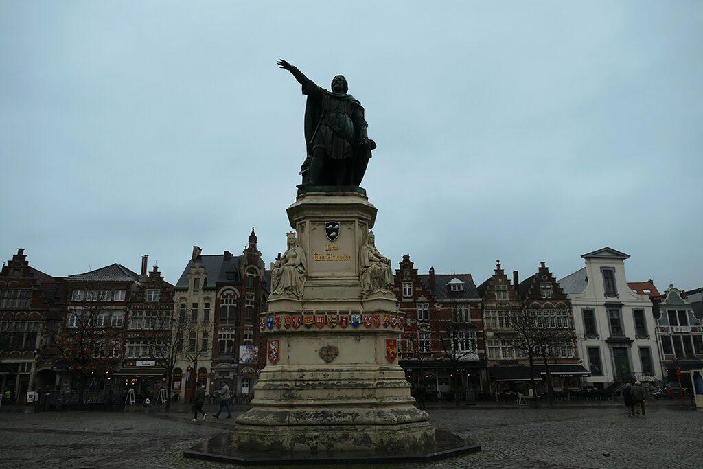 Vrijdagmarkt seen on a day trip to Antwerp, Bruges, and Ghent.