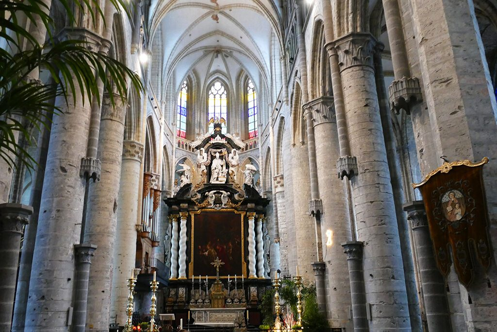 The Grand Altar of Saint Nicholas' Church  Roman Catholic church with 18th-century statues and Baroque paintings in Ghent - seen on a day trip to Antwerp, Bruges, and Ghent.