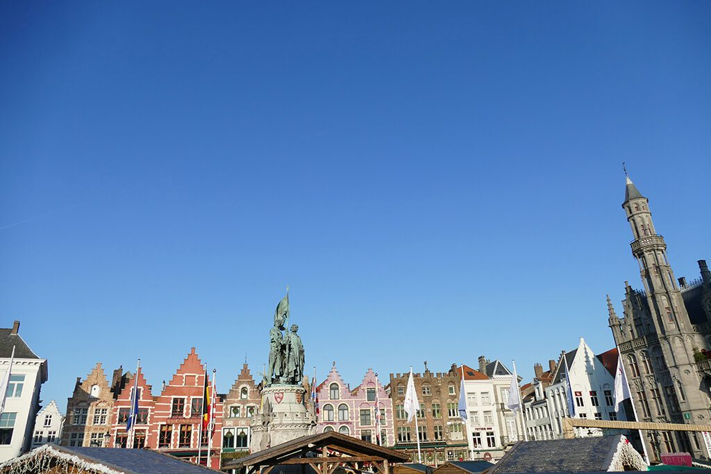 The main square Markt with the statues of Jan Breydel and Pieter de Coninck in Bruges.