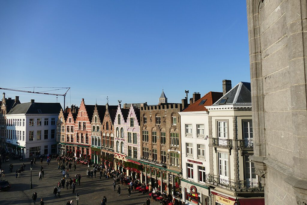 View of the Markt, Bruges' main square, from the balcony of the Duvelorium, the bar on the first floor of the Historium.