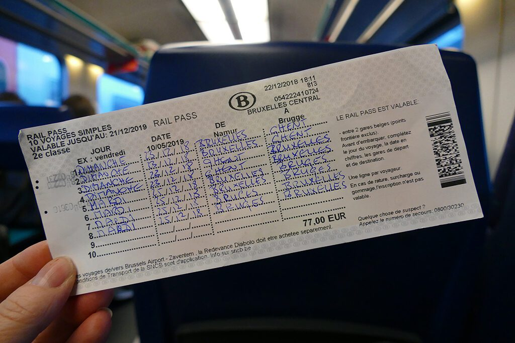 Rail Pass to be used on a day trip to Antwerp, Bruges, and Ghent
