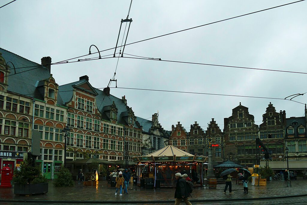 Ghent's medieval Sint-Veerleplein square, visited on a day trip.