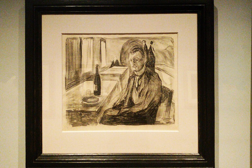 Self-portrait with bottle of wine by Edvard Munch.