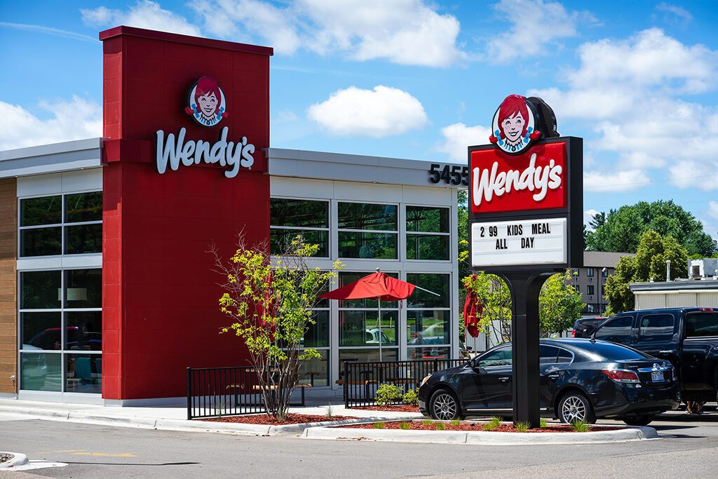 Wendy's Restaurant across from  a location of an adventurous accommodation
