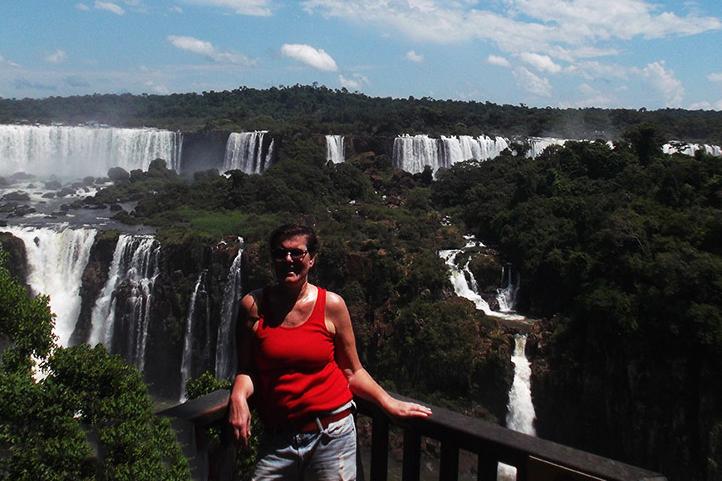 Renata Green at the Waterfall at Foz do Iguacu