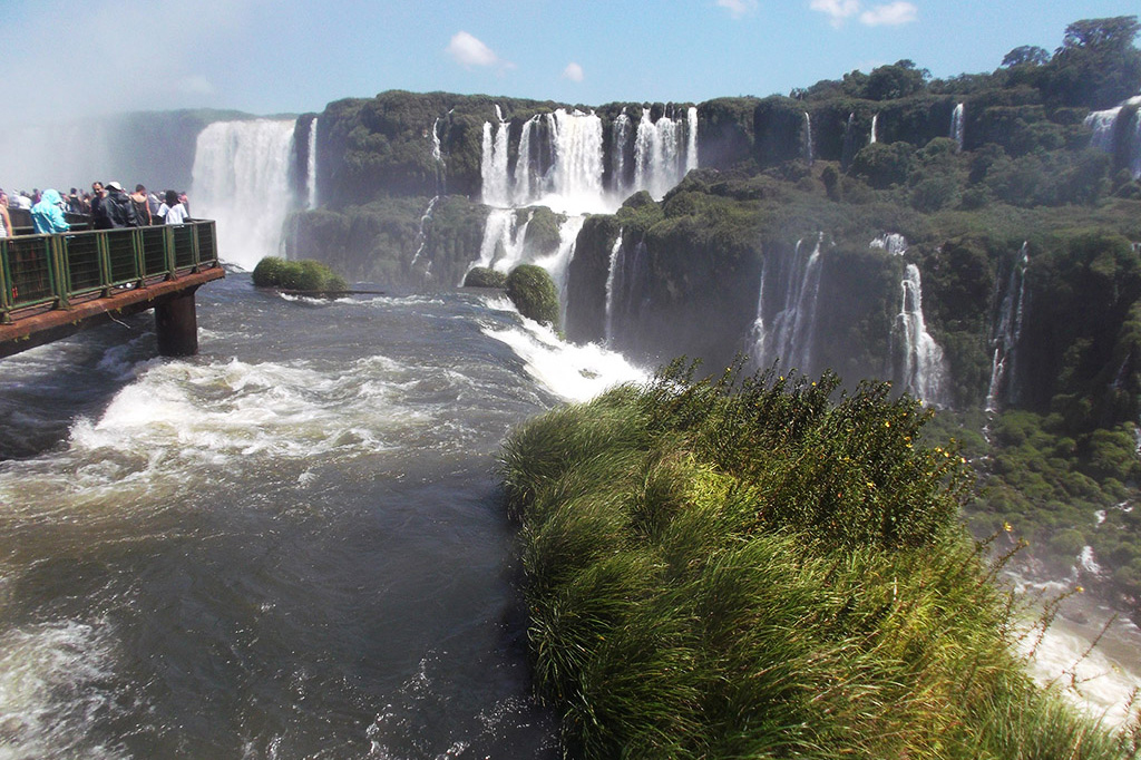 People looking at a Waterfall at Foz do Iguacu