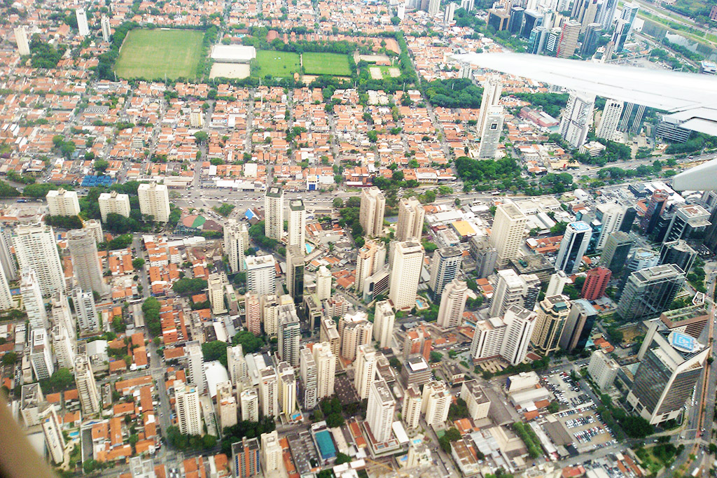 Sao Paulo from above when travelling Brazil