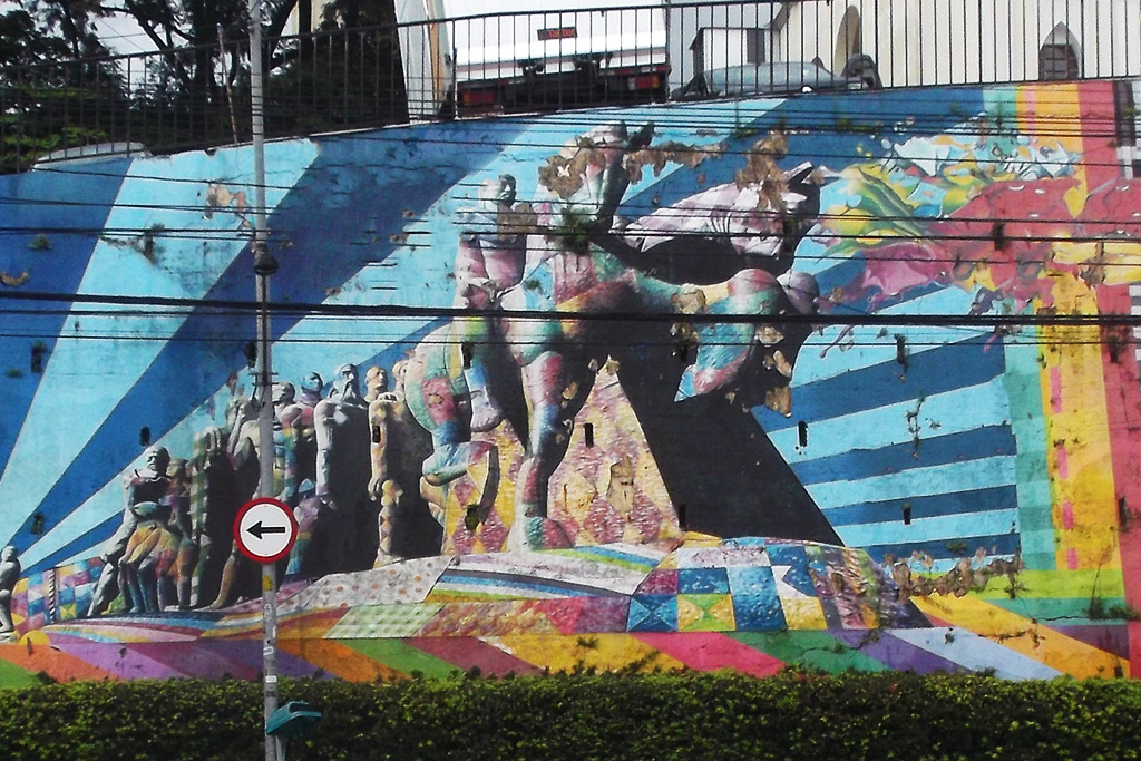 Mural of the Monumento às Bandeiras by Eduardo Kobra