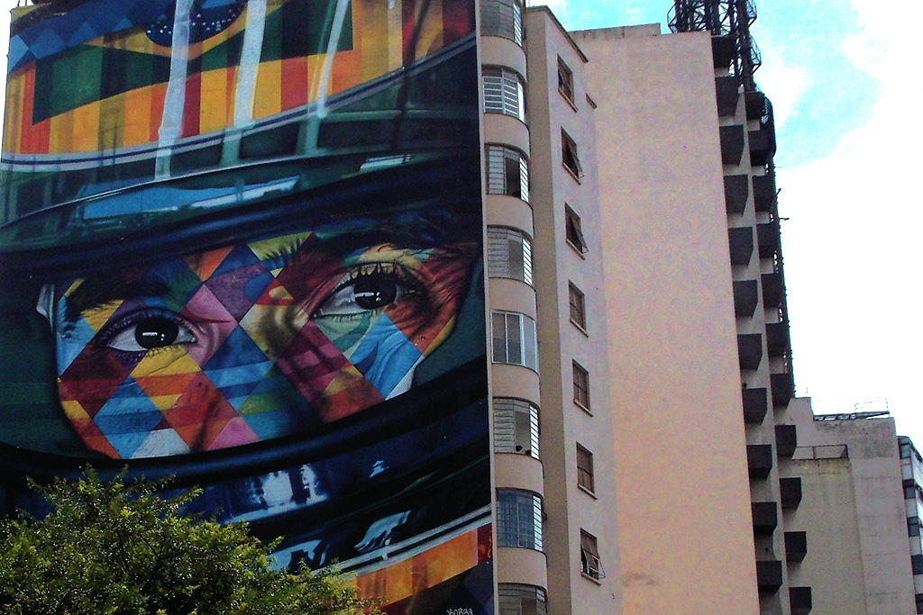 Ayrton Senna, painted by Kobra on a house in Brazil's Art Hub Sao Paulo