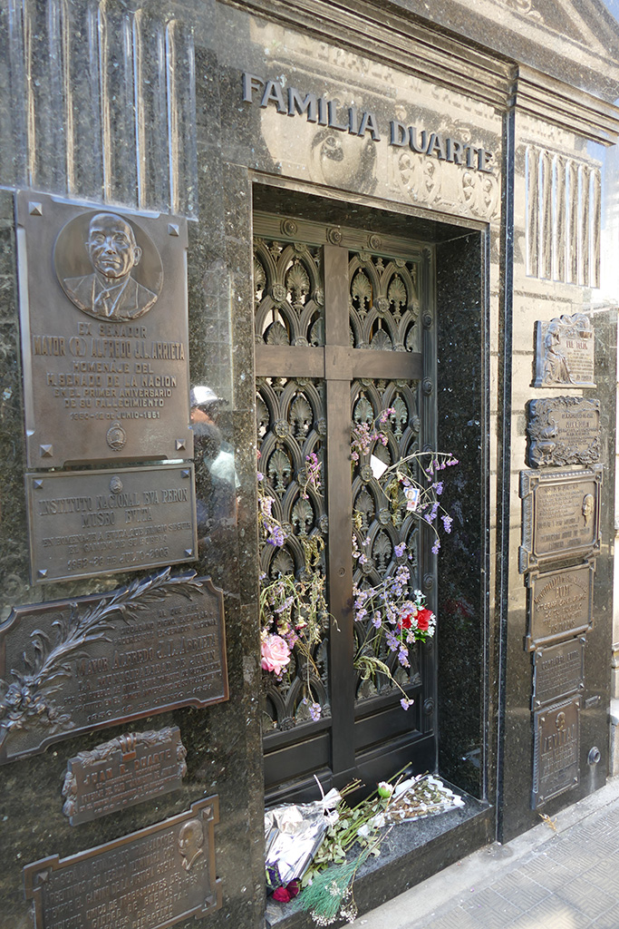 Grave of the Duarte Family at the Recoleta cemetery in Buenos Aires, Argentina's capital
