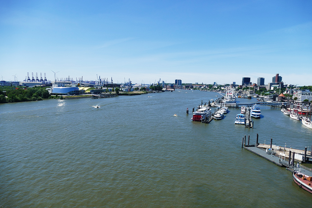 View of the harbor of Hamburg from the Elbphilharmonie Opera House