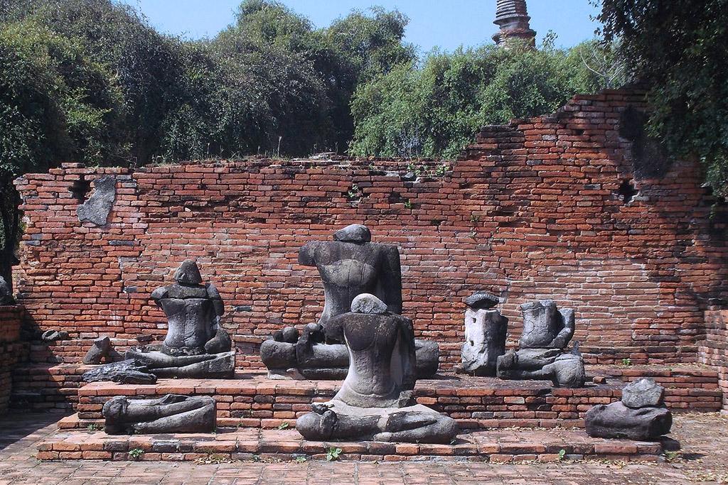 Beheaded Buddhas at a Wat in Ayutthaya