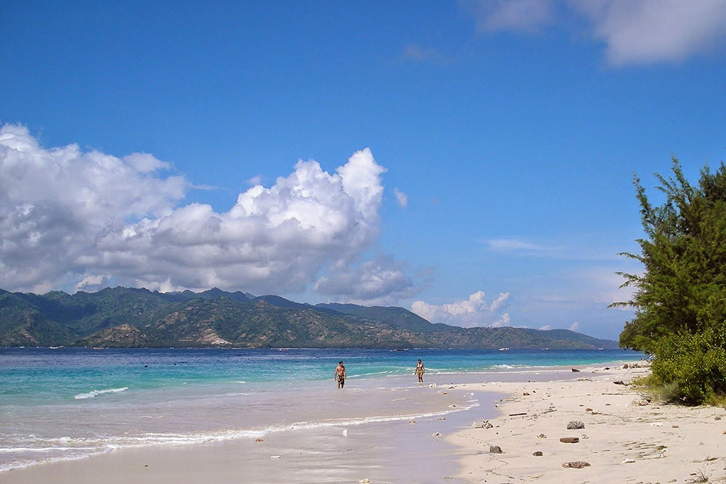 Beach on Gili Meno, located between the island of Trawangan and Gili Air.