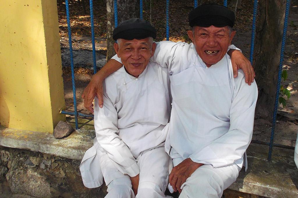 Faithful at the Cao Đài Temple in Tây Ninh.
