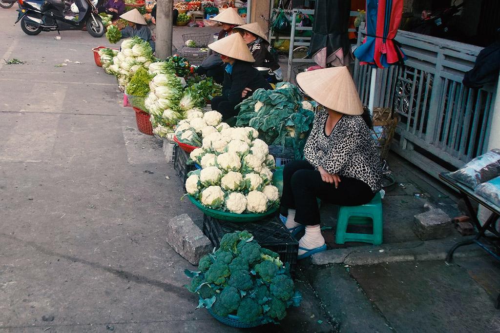 Vegetable vendors in Da Lat in Vietnam