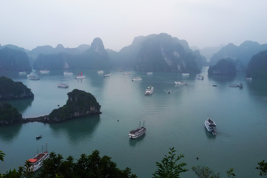 Ships in the Halong Bay in the North of Vietnam