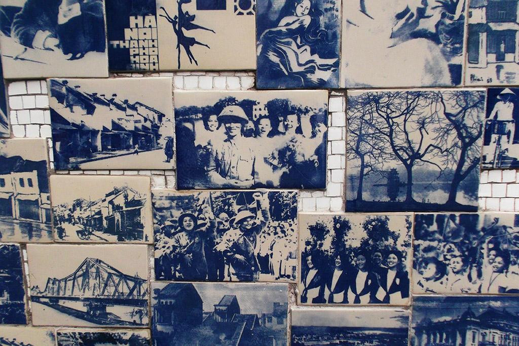 Commemorating tiles on Quan Thanh in Hanoi, capital of Vietnam
