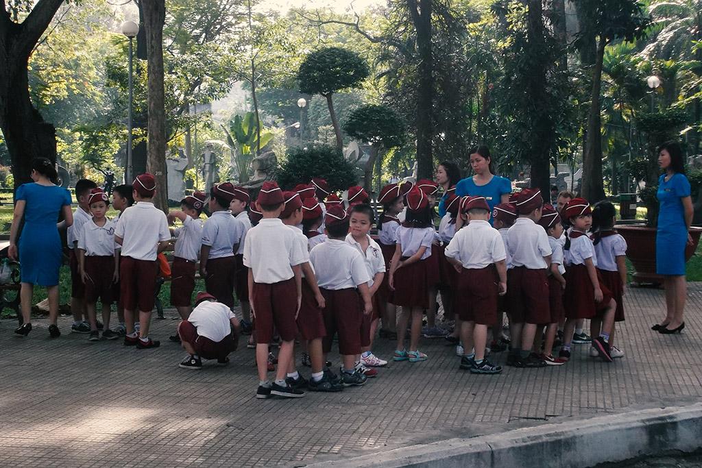 Vietnamese school kids on a field trip to Cong Vien Van Hoa Park