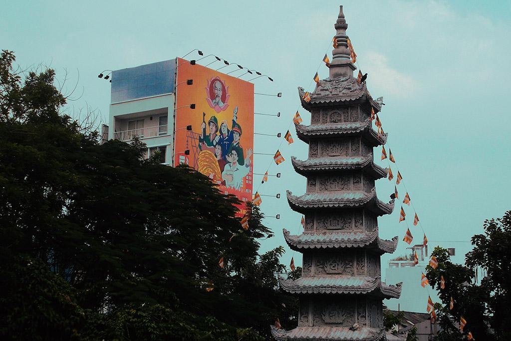 Pagoda and communist propaganda in HCMC