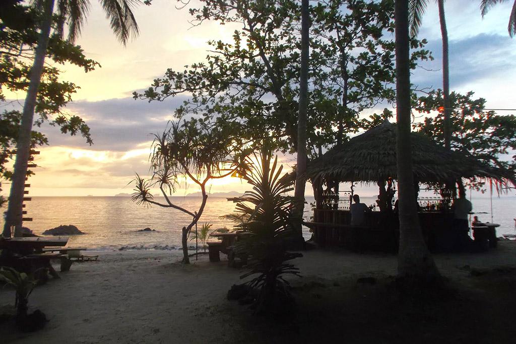 Beach bar in the sunset on Koh Jum