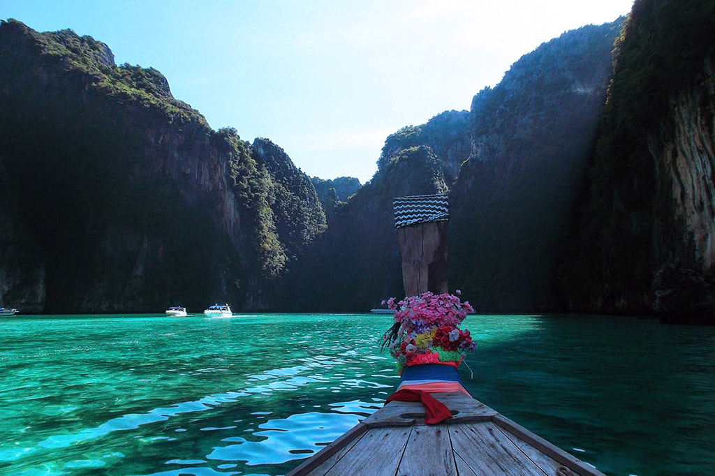 Taking a ride in a longtail boat on Koh Phi Phi in the Andaman Sea