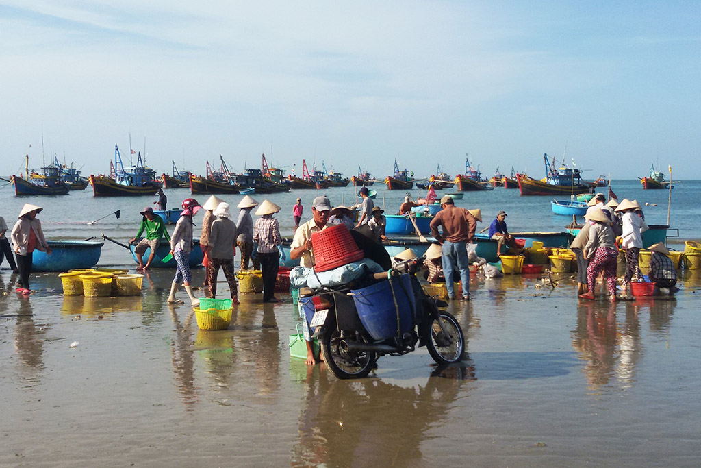 Mui Ne Fish market at the Sea after having visited the Sand Dunes