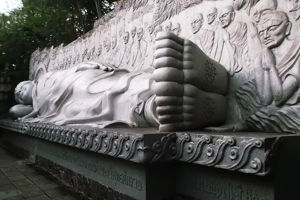 Reclining Buddha at the Long Son Pagoda at the beach resort Nha Trang