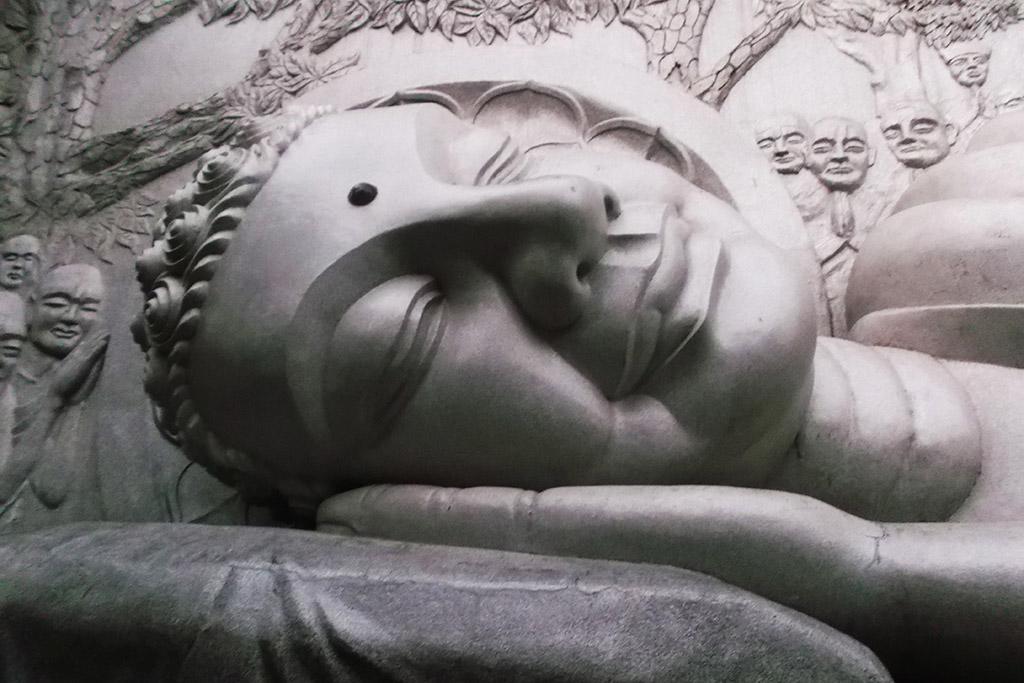 Reclining Buddha at the Long Son Pagoda at the beach resort Nha Trang