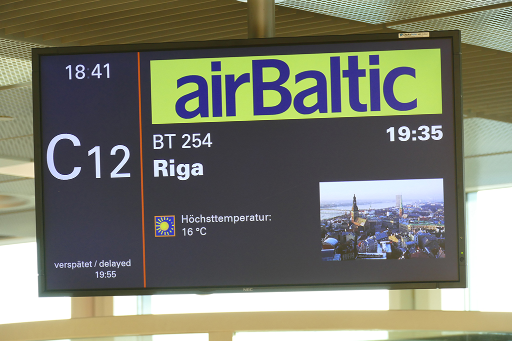 Sign at the Airport in Hamburg, going to Riga, Latvia by air baltic