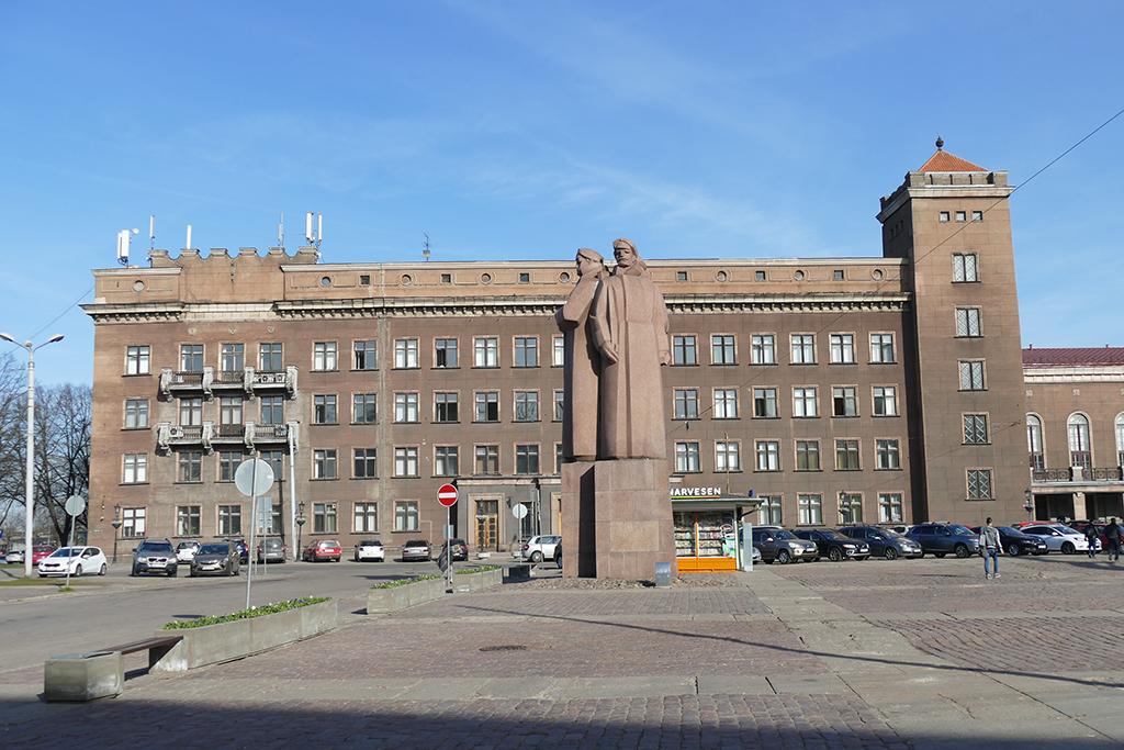 Latvian Riflemen statue in Riga, Latvia