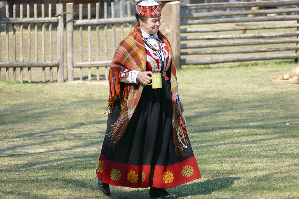 Lady in Latvian attire at the Ethnographic Open-Air Museum in Riga