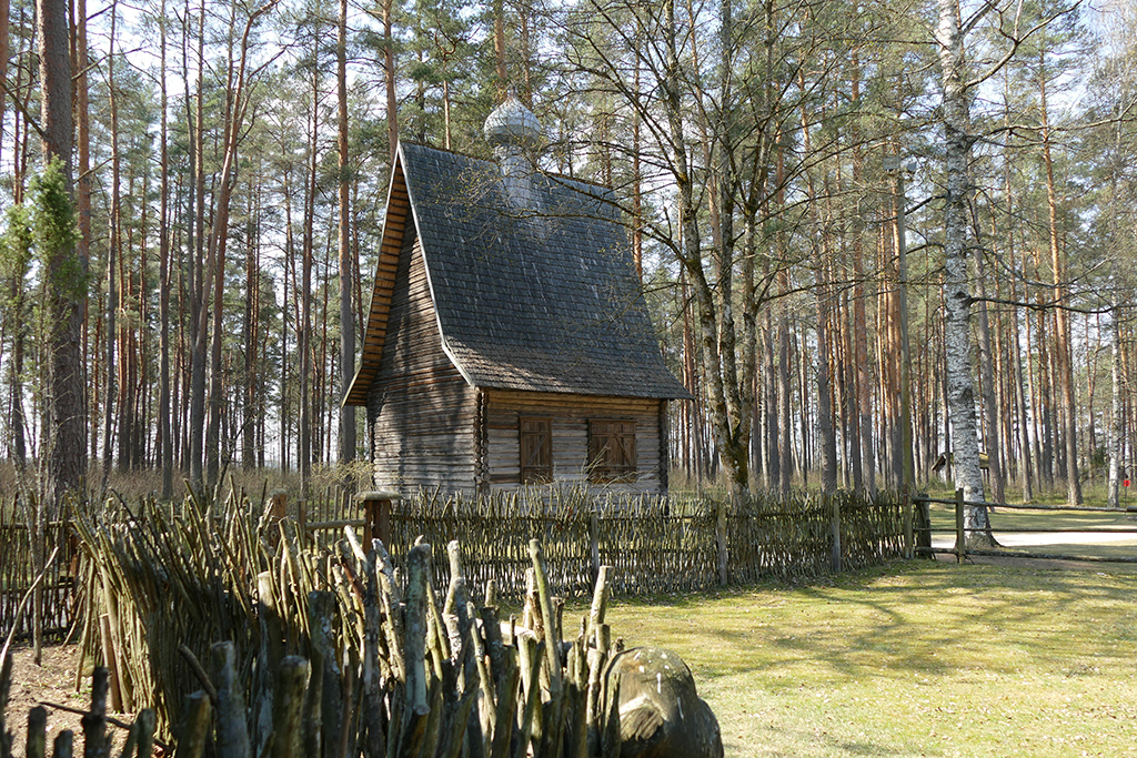 Russian Orthodox church from the Rogovka village in the Latgale region at the Ethnographic Open-Air Museum in Riga